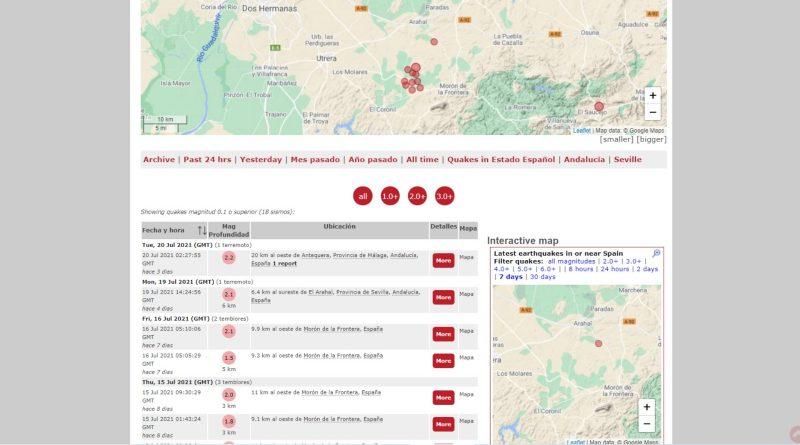 Registrado un nuevo terremoto de magnitud 2,1 entre Arahal y Morón, el noveno en solo 5 días